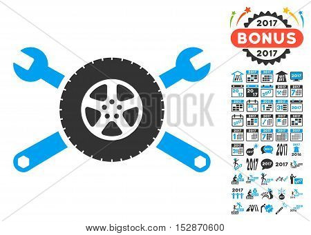 Tire Service Wrenches pictograph with bonus 2017 new year symbols. Vector illustration style is flat iconic symbols, modern colors, rounded edges.