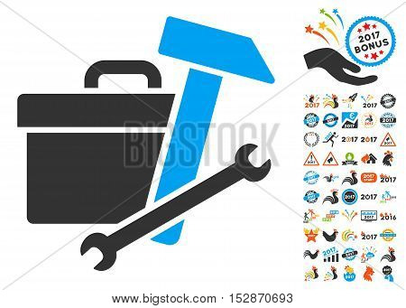 Toolbox icon with bonus 2017 new year pictograph collection. Vector illustration style is flat iconic symbols, modern colors, rounded edges.
