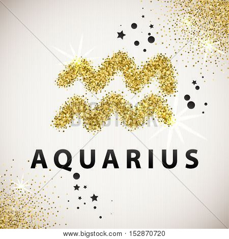 Horoscope predicts your destiny. Zodiac Sign Gold Tinsel, scattered on white background. Black circles and stars and patches of light. Golden Glitter Particle. Trendy Gold Glitter Texture.