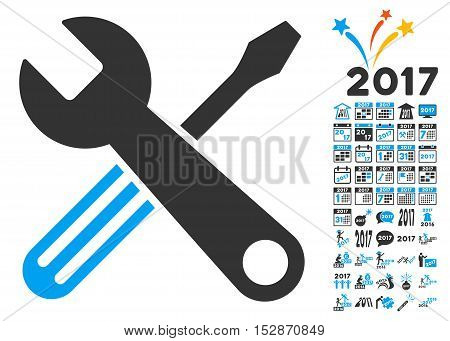 Tools pictograph with bonus 2017 new year images. Vector illustration style is flat iconic symbols, modern colors, rounded edges.