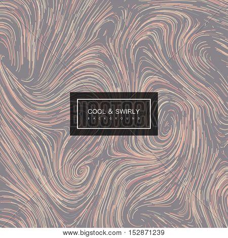 Abstract artistic curl background with swirled stripes. Vector vintage illustration of swirled stripes background. Marble or acrylic texture imitation. Abstract psychedelic background