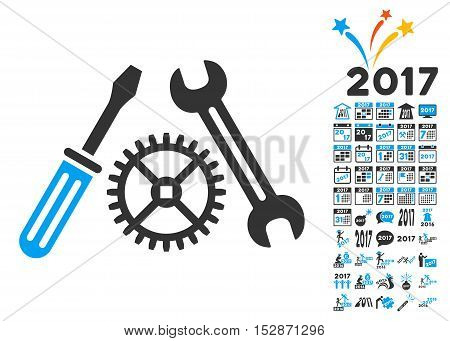 Tuning Service pictograph with bonus 2017 new year images. Vector illustration style is flat iconic symbols, modern colors, rounded edges.