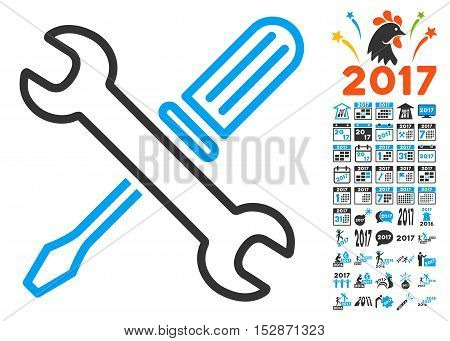 Tuning Tools pictograph with bonus 2017 new year pictograms. Vector illustration style is flat iconic symbols, modern colors, rounded edges.