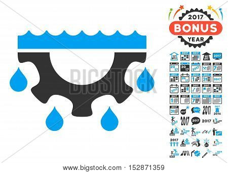 Water Gear Drops icon with bonus 2017 new year pictograph collection. Vector illustration style is flat iconic symbols, modern colors, rounded edges.