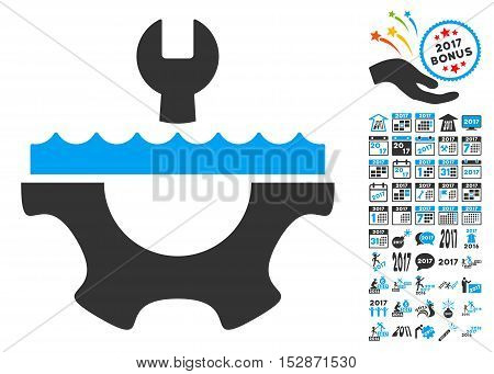 Water Service Gear icon with bonus 2017 new year pictograph collection. Vector illustration style is flat iconic symbols, modern colors, rounded edges.