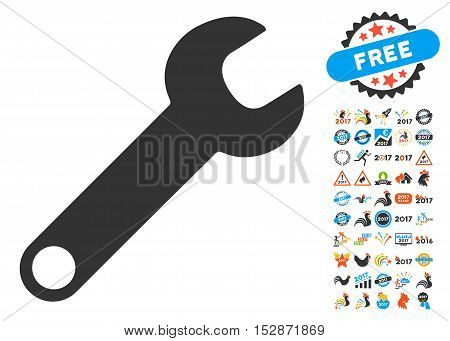 Wrench icon with bonus 2017 new year graphic icons. Vector illustration style is flat iconic symbols, modern colors, rounded edges.