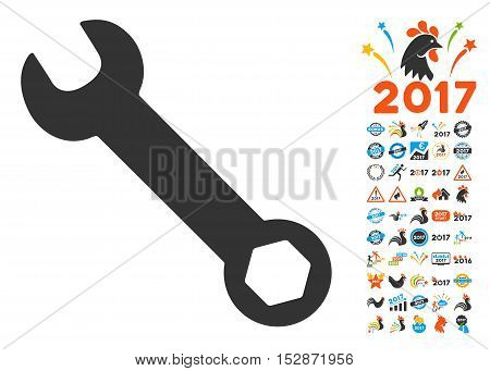 Wrench icon with bonus 2017 new year icon set. Vector illustration style is flat iconic symbols, modern colors, rounded edges.