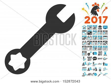 Wrench icon with bonus 2017 new year clip art. Vector illustration style is flat iconic symbols, modern colors, rounded edges.