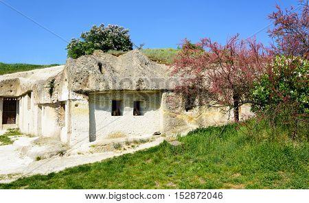 NOSZVAJ - APRIL 22: Ancient housing in volcanic caves on April 22 2016 in the village of Noszvaj in Eger region Hungary