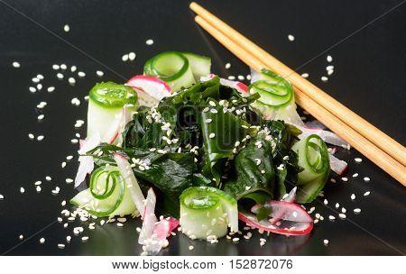Wakame Salad On Black Plate