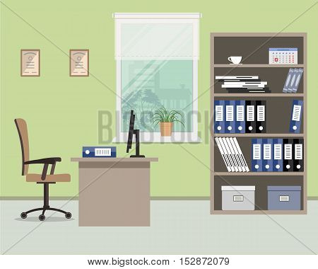 Workplace of office worker. There are such objects on a window background: a desktop, case for documents, a chair, a computer. Vector flat illustration