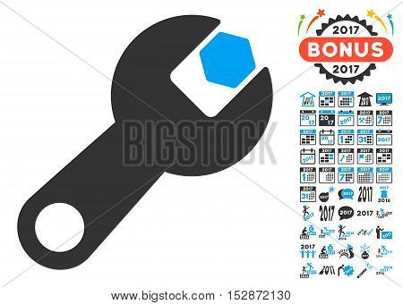 Wrench pictograph with bonus 2017 new year pictograph collection. Vector illustration style is flat iconic symbols, modern colors, rounded edges.