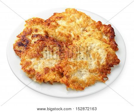 Homemade potato pancakes on a plate on a white background