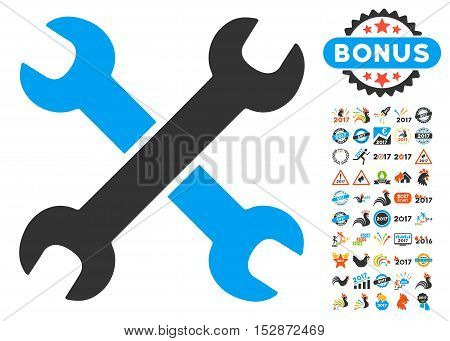 Wrenches pictograph with bonus 2017 new year pictures. Vector illustration style is flat iconic symbols, modern colors, rounded edges.