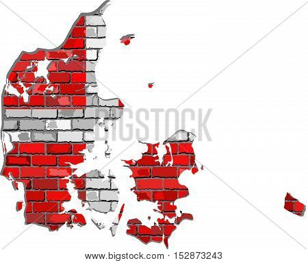 Denmark map on a brick wall - Illustration,  Map of the Denmark with flag inside,  Danish map on a brick wall