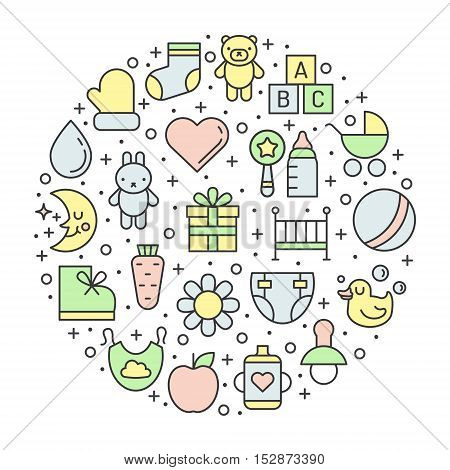 Baby (girl and boy) things outline multicolored cute vector circle illustration. Clean and simple design.