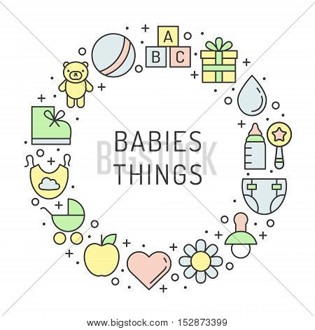 Baby (girl and boy) things outline multicolored cute vector circle frame illustration. Clean and simple.Part one.