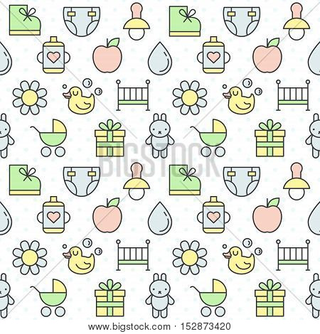 Baby (girl and boy) things outline multicolored cute vector seamless pattern. Clean and simple design. Part two.