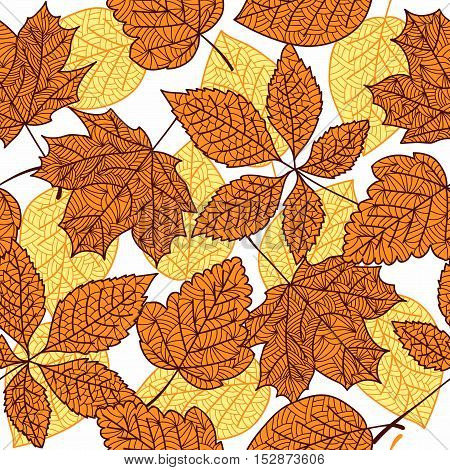 abstract background of autumn leaves. Vector Illustration seamless autumn leaves