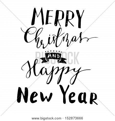 Merry Christmas and Happy New Year hand lettering with bouncing letters signature black vector illustration.