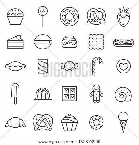 Sweets outline gray cute icons vector set. Clean and simple design.