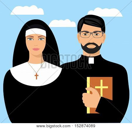 a young priest with a bible and a nun. Vector flat cartoon illustration