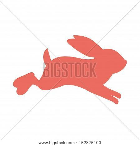pink Rabbit icon. Animal cartoon and easter theme. Isolated design. Vector illustration