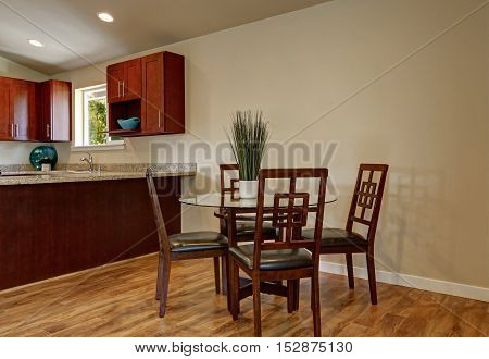View Of Dining Area With Modern Table And Chair Set
