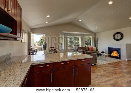 Open Floor Plan Of Kitchen, Dining And Living Rooms