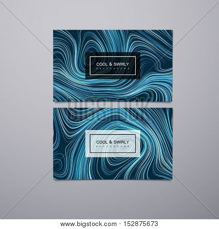 Greeting, invitation, business cards design template with swirled stripes. Vector illustration of vortex stripes background. Marble or acrylic texture imitation.