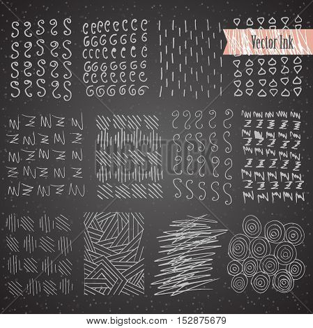 Dark Hand Drawn Hipster Textures Made with Ink. Retro Patterns for Posters, Flyers and Banner Designs. Vector Brushes and Decor Elements. Isolated on White Background. Abstract Hand Drawn Ink Strokes