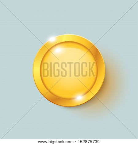 illustration of gold coin with reflection on bright background