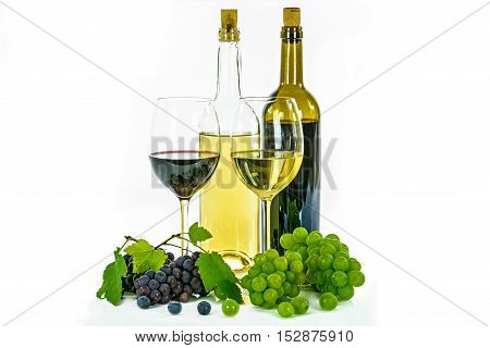 Red and white wine with grapes isolated on a white background