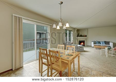 Dining Area Connected With Living Room. House Interior