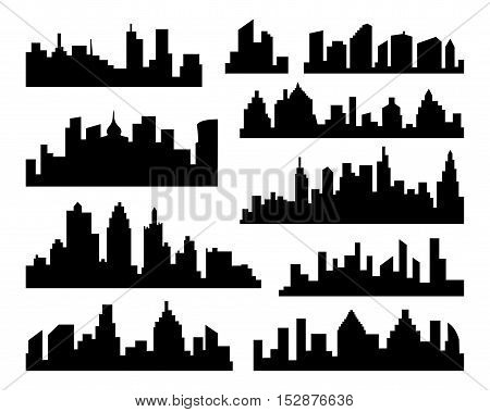 Set of vector Cities Silhouette. Collection of Vector black City Icons set on white Background