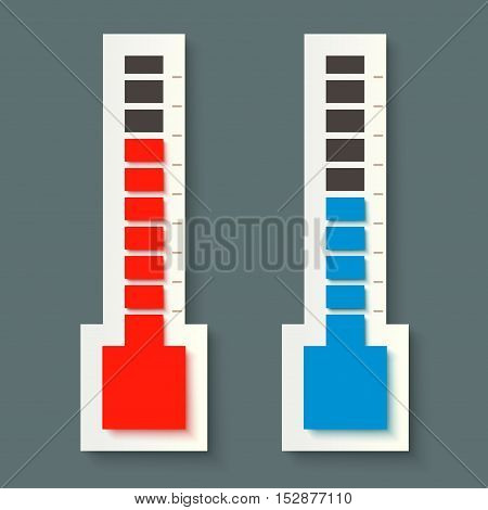 illustration of pair thermometers blue and red color with shadow