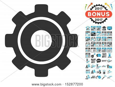 Cog icon with bonus 2017 new year pictograph collection. Vector illustration style is flat iconic symbols, modern colors, rounded edges.