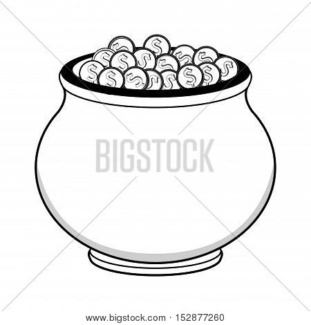 money coins in a pot over white background. vector illustration