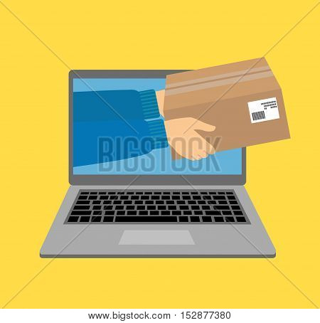 vector illustration concept for gift delivery service, e-commerce, online shopping, receiving package from courier to customer isolated on bright background
