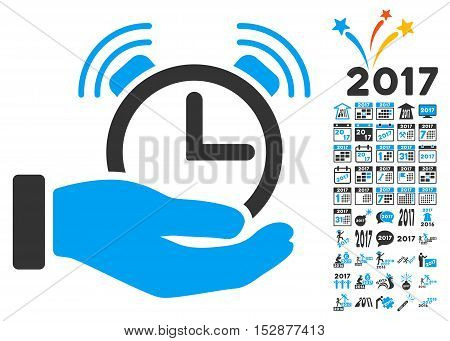 Alarm Service pictograph with bonus 2017 new year graphic icons. Vector illustration style is flat iconic symbols, modern colors, rounded edges.