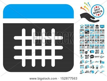 Calendar pictograph with bonus 2017 new year pictures. Vector illustration style is flat iconic symbols, modern colors, rounded edges.