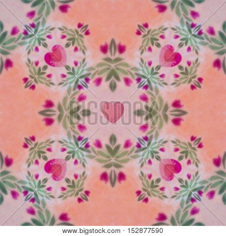 Bright seamless blur soft, Valentine day pattern. Collage with hand made watercolor blots, hearts and petals, leaves, red flowers. Batik ethnic background, backdrop. Boho style, watercolor stylization