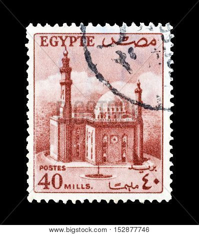 EGYPT - CIRCA 1953 : Cancelled postage stamp printed by Egypt, that shows Mosque of Sultan Hassan.