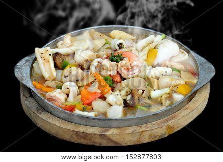 Spicy Seafood In Thai Style Serve In Hot Plate