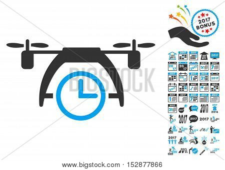 Drone Clock pictograph with bonus 2017 new year pictures. Vector illustration style is flat iconic symbols, modern colors, rounded edges.