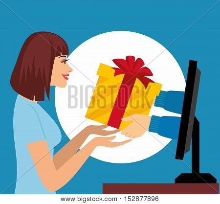 Internet Marketing concept. Beautiful woman pick up a present from computer monitor . Illustration, vector