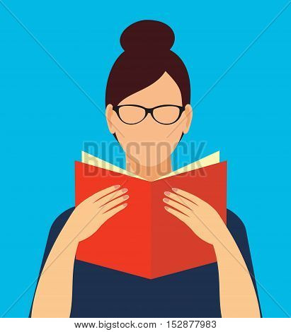 faceless woman in glasses holding an open book in his hands. Education symbol. Vector illustration of student learning.