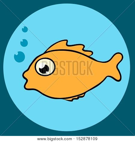 Tropical fish with bubbles flat icon in blue circle