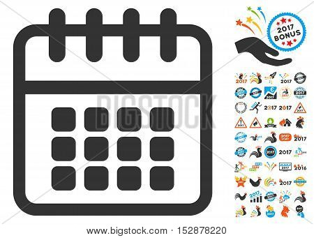 Spiral Calendar icon with bonus 2017 new year pictograms. Vector illustration style is flat iconic symbols, modern colors, rounded edges.