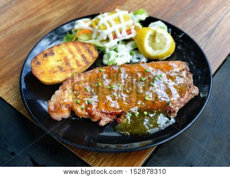 Grilled Beef Steak With Pepper Sauce